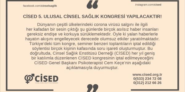 CİSED 5. ULUSAL CİNSEL SAĞLIK KONGRESİ YAPILACAKTIR!